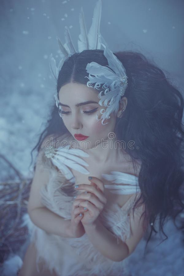 Futuristic girl bird with a gentle make-up of red hues on the background of pale skin. A fairy-tale image of a queen of royalty free stock photo