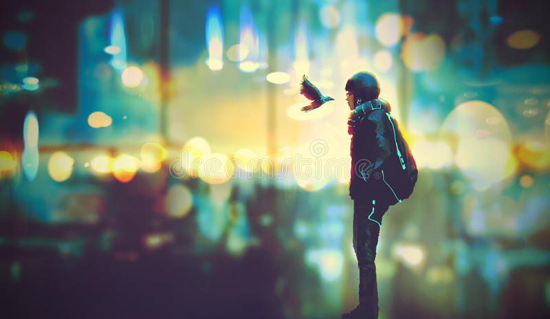 Futuristic girl and a bird look each other in the eyes. On night city background,illustration painting vector illustration