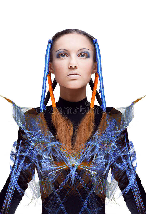 Futuristic girl with blue and orange energy flows. Isolated on white background royalty free stock photos