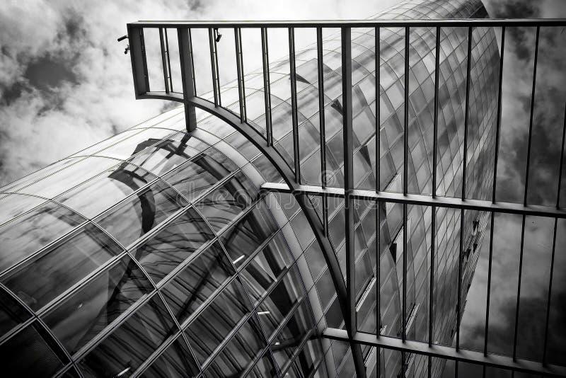 Futuristic glass skyscraper stock photo
