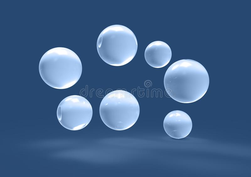 Futuristic glass water bubbles balls scattered in space 3D image stock illustration