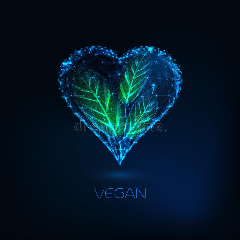 Futuristic glow low poly heart with green leaves. Vegan, nature love zero waste lifestyle concept. Futuristic glowing low polygonal heart with green leaves royalty free illustration