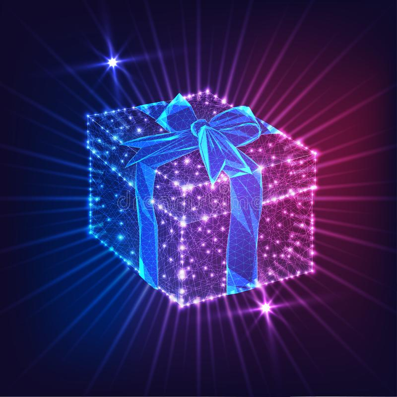 Futuristic glowing low poly gift box with ribbon bow isolated on dark blue and purple background stock photos
