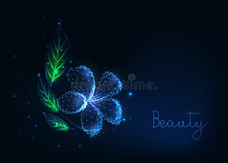 Futuristic glowing low polygonal beautiful plumeria flower with green leaves on dark blue. stock illustration