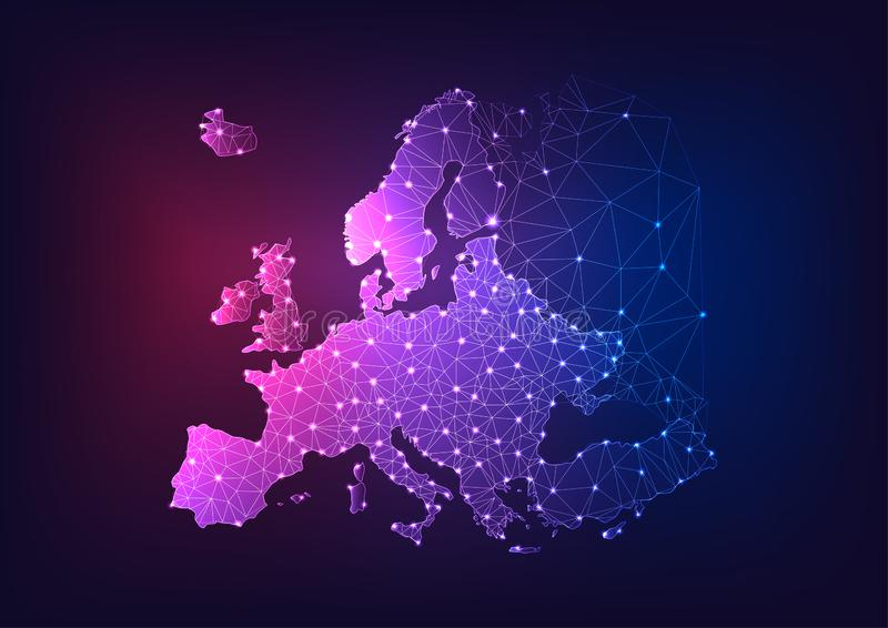 Futuristic glowing low polygonal Europe continent map on dark blue and purple background stock illustration