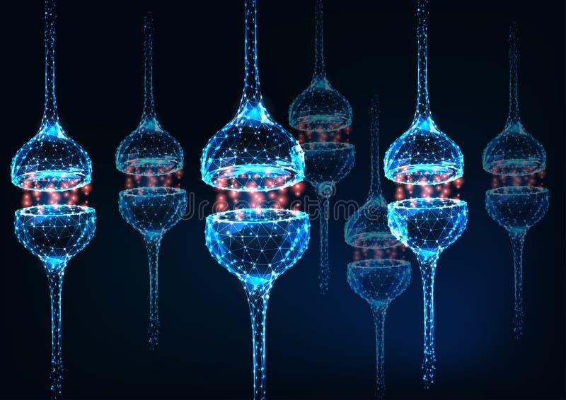 Futuristic glowing low polygonal neuron synapse on dark blue background. Human nervous system concept. Modern wireframe design vector illustration stock illustration