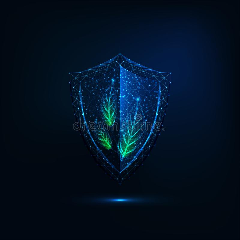 Futuristic glowing low polygonal shield with green leaves isolated on dark blue background vector illustration