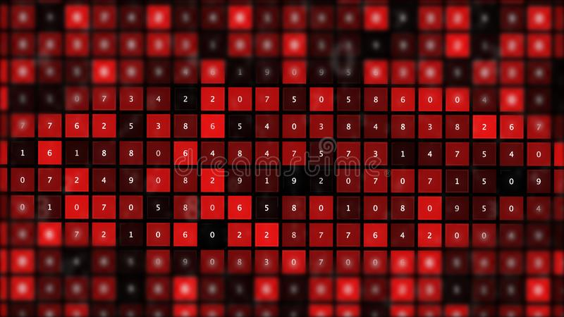 Futuristic graphic interface on background of fantastic symmetric number mainframes. vector illustration