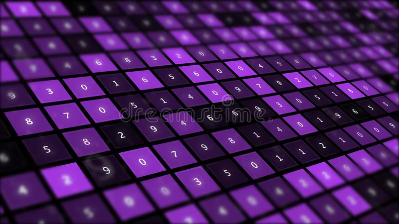 Futuristic graphic interface on background of fantastic symmetric number mainframes. royalty free illustration