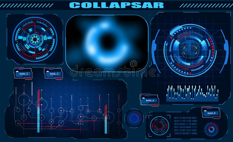 Futuristic graphic interface Black hole, total eclipse, hud design, infographic elements. Theme and science, the theme vector illustration