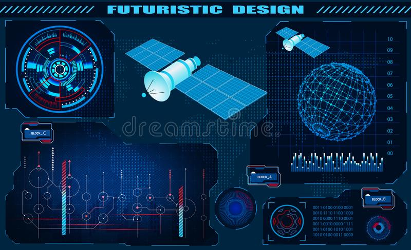 Futuristic graphical interface, satellite control, hud design, hologram of the globe. illustration vector illustration