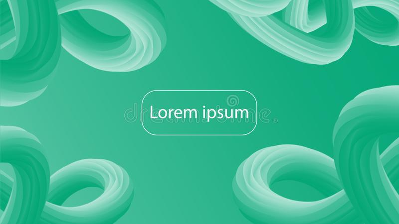 Futuristic green gradient geometric background. Liquid design stock illustration