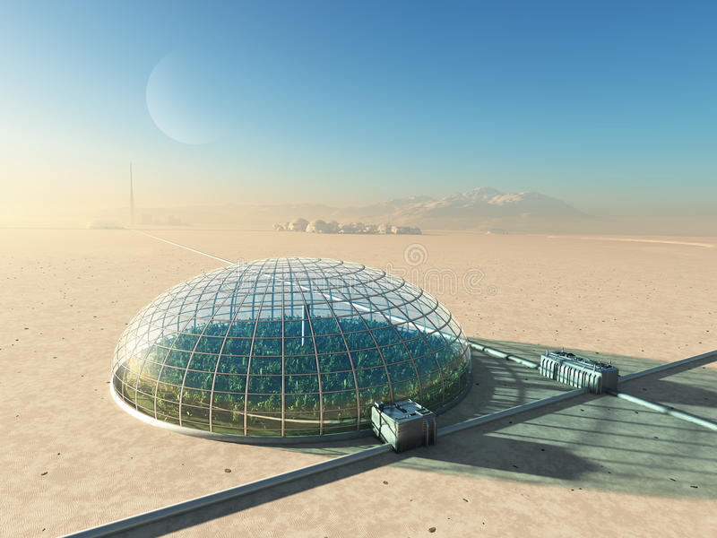 Futuristic greenhouse in desert royalty free stock photos