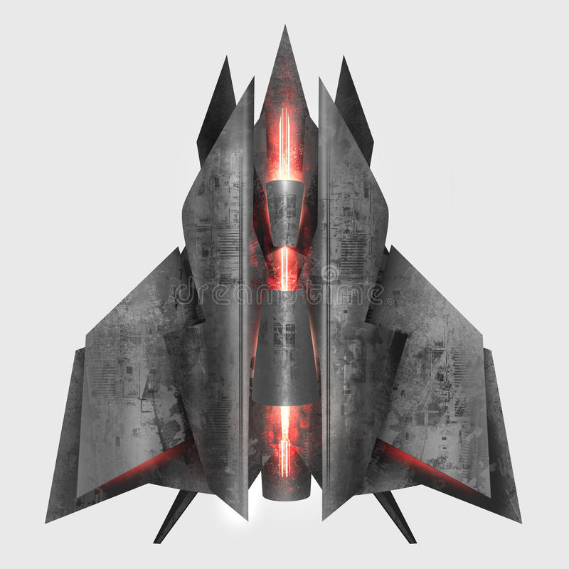 Futuristic grey metal spaceship. royalty free illustration