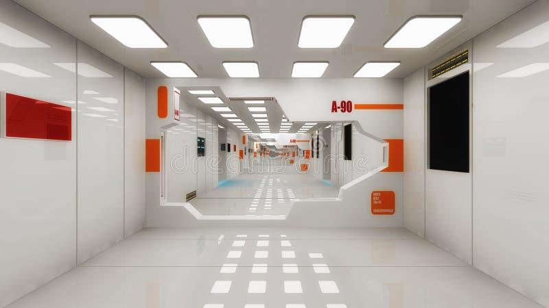 Futuristic hall alien spaceship stock illustration