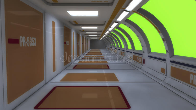 Futuristic hall alien spaceship royalty free stock images
