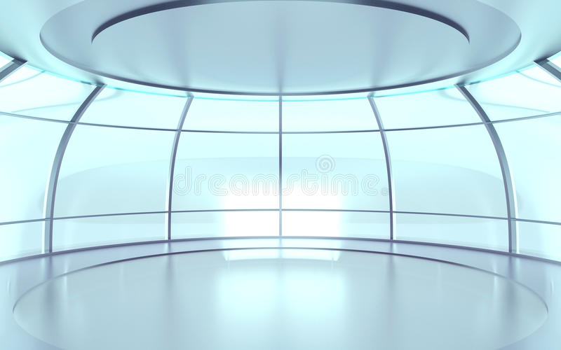 Futuristic hall with glass walls. Futuristic circular hall with glass walls and reflective surfaces