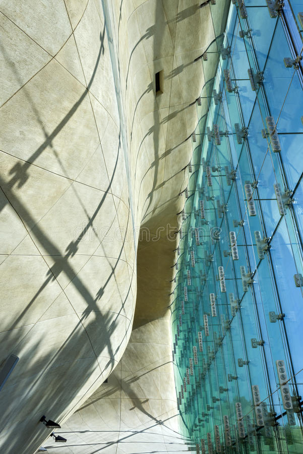 Futuristic hall in Museum of History of Polish Jews in Warsaw. stock image