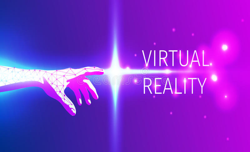 Futuristic hand touch of virtual reality space. royalty free stock photos