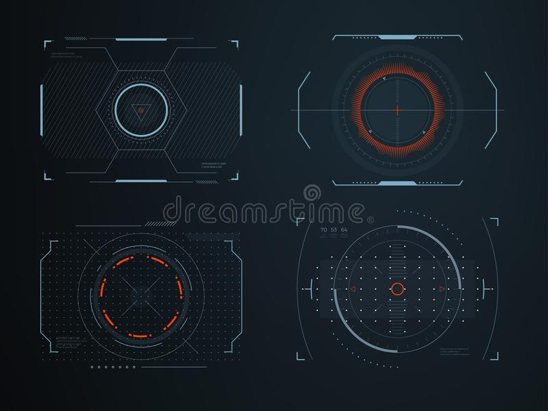 Futuristic helmet hud screens cockpit view. Glowing visual display vehicle technology. Interactive interface control. Vector panels. Future virtual viewfinder vector illustration