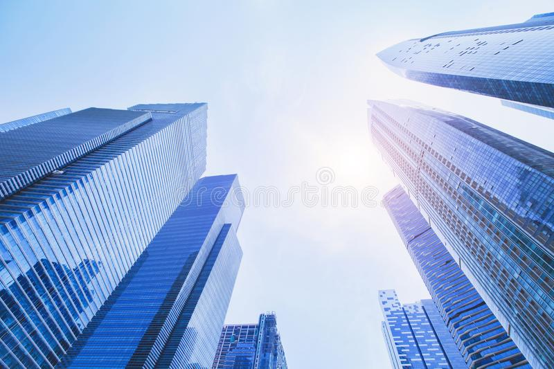 Futuristic high tech background, business office modern buildings stock photos