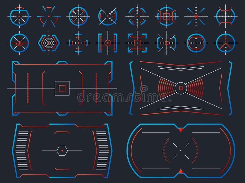 Futuristic hightech virtual screen design. Computer systems hud panel with tracking aim frames vector set. Illustration of gui interactive, crosshair visual vector illustration