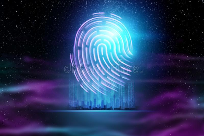 Futuristic hologram fingerprint, blue, ultraviolet. Concept of fingerprint, biometric, information technology and cyber security, stock illustration