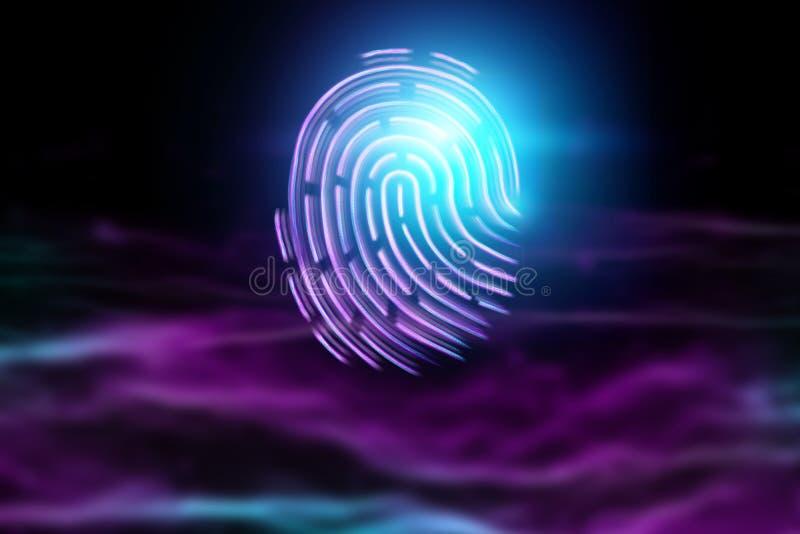 Futuristic hologram fingerprint, blue, ultraviolet. Concept of fingerprint, biometric, information technology and cyber security, vector illustration