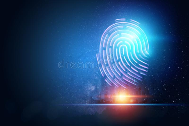 Futuristic hologram fingerprint, blue, ultraviolet. Concept of fingerprint, biometric, information technology and cyber security, royalty free illustration