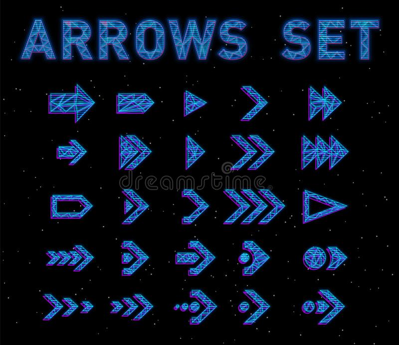 Futuristic Hologram HUD blue vector arrows set. English alphabet with hologram effect. Digital hi-tech style letters and. Symbols. Typography design for royalty free illustration
