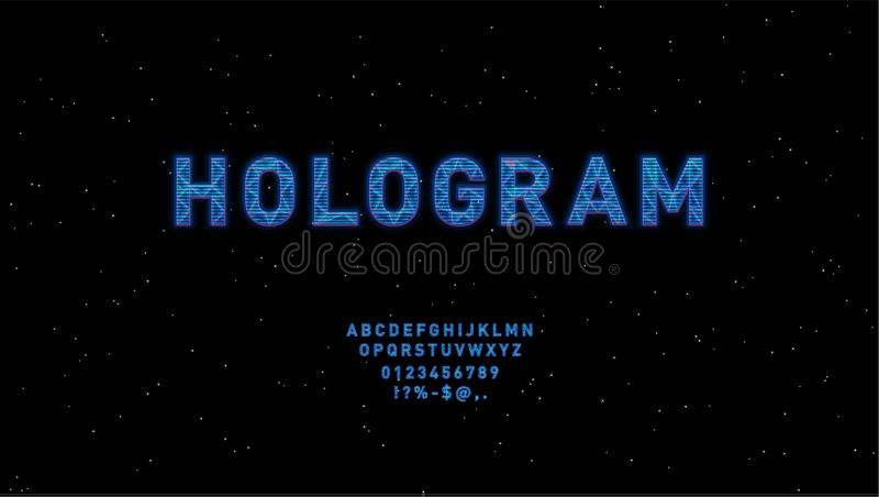 Futuristic Hologram HUD blue vector font design. English alphabet with hologram effect. Digital hi-tech style letters. And symbols. Typography design for stock illustration