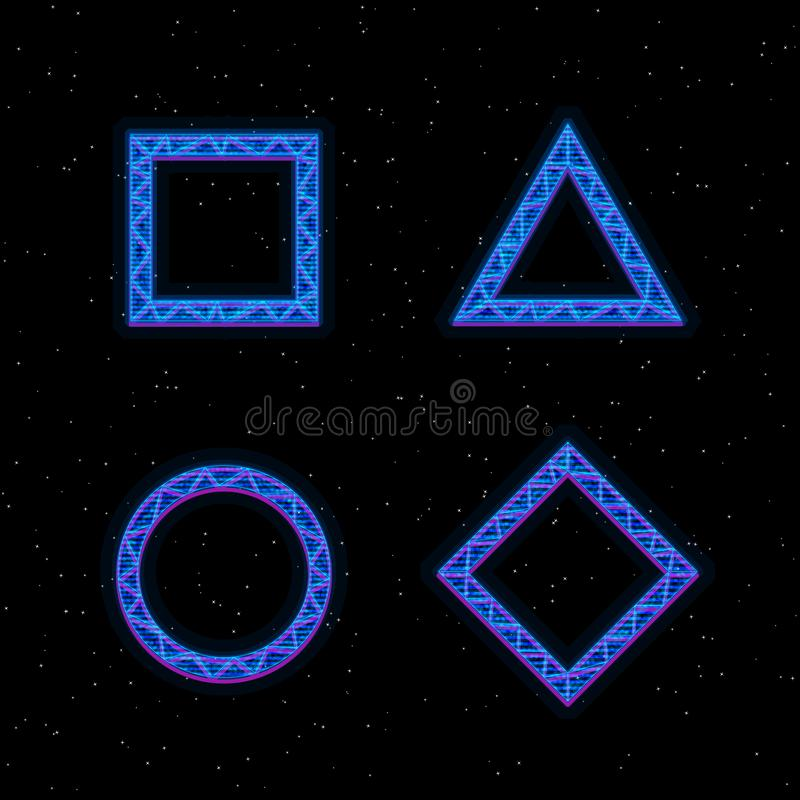 Futuristic Hologram HUD blue vector geometric shapes. Square, triangle, rhombus and circle with hologram effect. Digital vector illustration