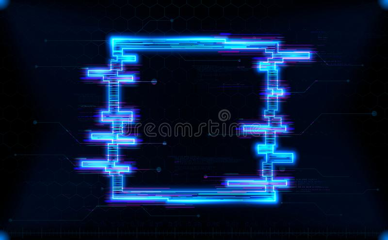 Futuristic hologram HUD square shape with neon glowing royalty free illustration