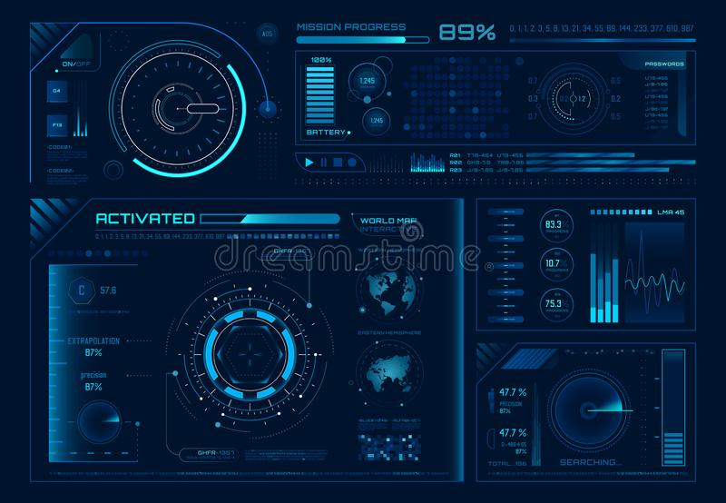 Futuristic hologram ui. Science hud interfaces, graph interface frames and tech regulators or button design elements royalty free illustration