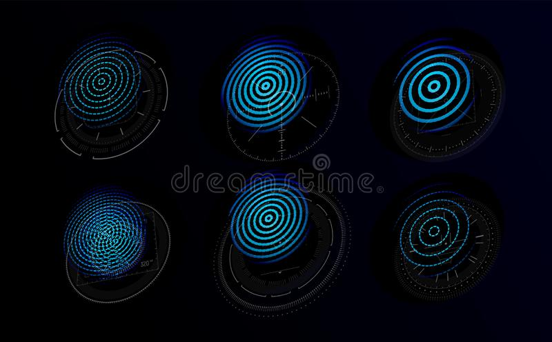 Futuristic holograms with graphic fingerprints. Blue icons set for personal identification systems based on fingerprints stock illustration