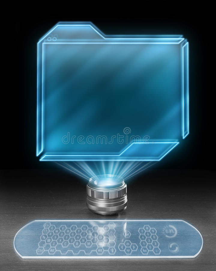 Free Futuristic Holographic Computer Royalty Free Stock Photos - 39973268