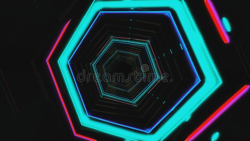 Futuristic HUD blue hex tunnel VJ. 4K Neon motion graphics for LED. TV, music, show, concerts. Bright retro cosmic night club 3D illustration with data flow royalty free stock photo
