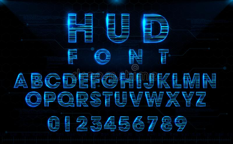 Futuristic HUD blue vector font design vector illustration