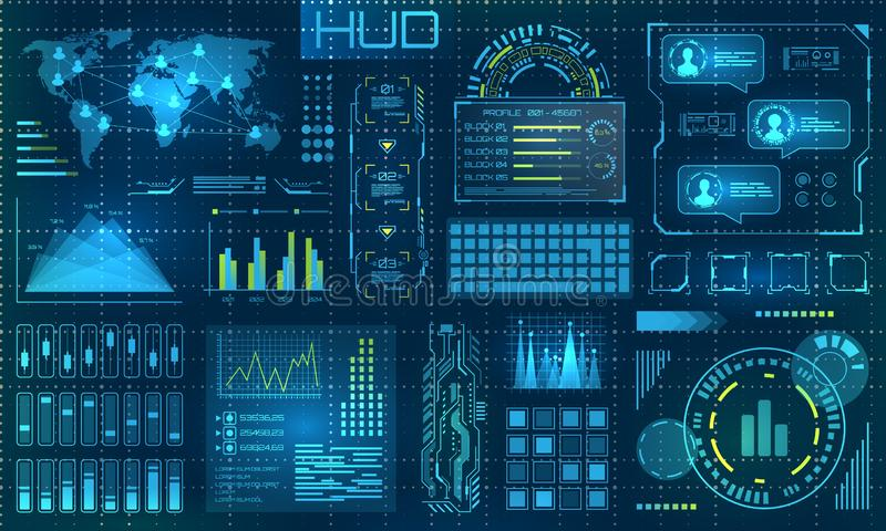 Futuristic HUD Design Elements. Infographic or Technology Interface for Information Visualization. Illustration Vector royalty free illustration
