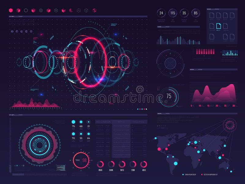 Futuristic hud digital touch screen display with visual data graphic, panels and chart vector infographic template. Illustration of chart data and digital vector illustration