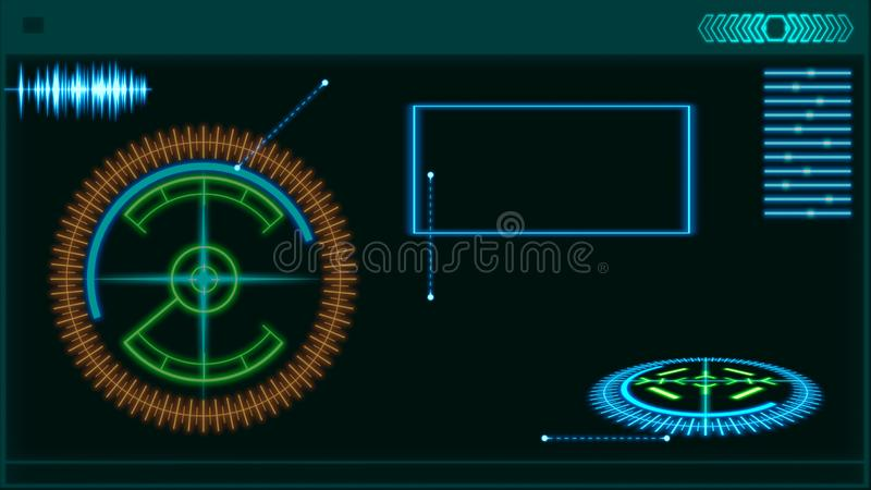 Futuristic HUD interface elements. Digital illustration. Futuristic HUD interface elements.Digital illustration stock illustration