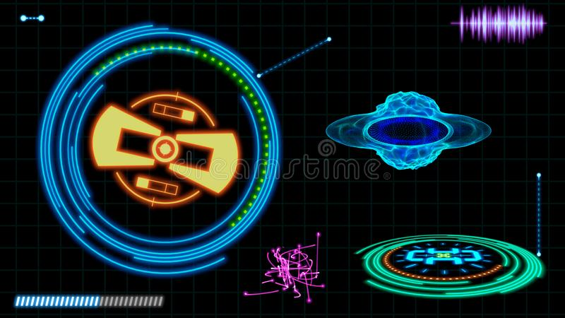 Futuristic HUD interface elements. Digital illustration.  stock illustration