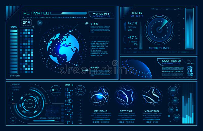 Futuristic hud interface. Future hologram ui infographic, interactive globe and cyber sky fi screen vector background vector illustration