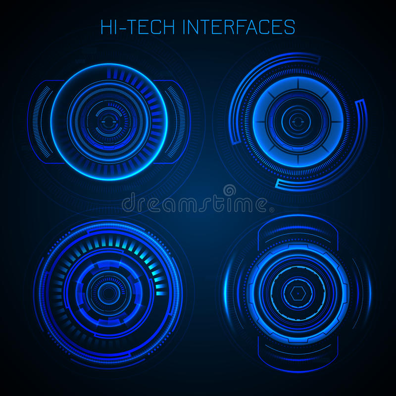 Futuristic Hud Interface. Hi-tech dashboard digital circular elements vector illustration vector illustration