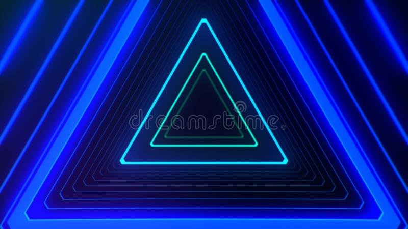 Futuristic HUD triangle tunnel VJ illustration. 4K Neon motion graphics for LED vector illustration