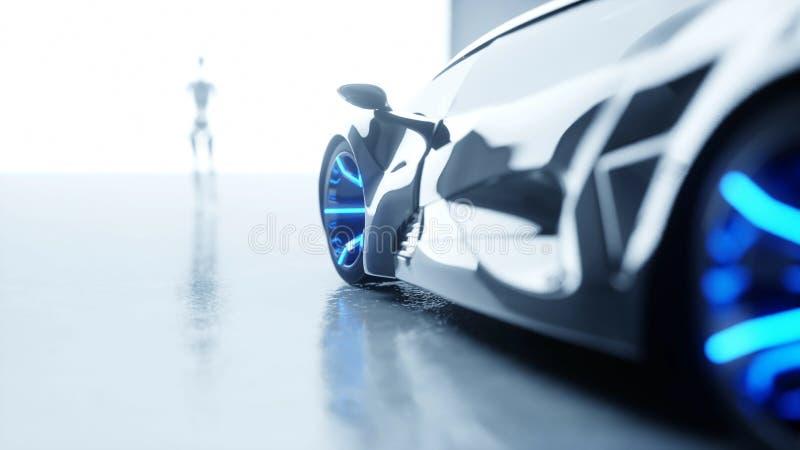 Futuristic humanoid female robot is walkihg to car. Concept of future. 3d rendering. Futuristic humanoid female robot is walkihg to car. Concept of future. 3d stock illustration
