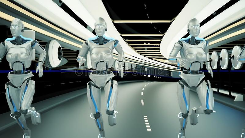 A futuristic humanoid robots, running through a sci-fi tunnel. stock illustration