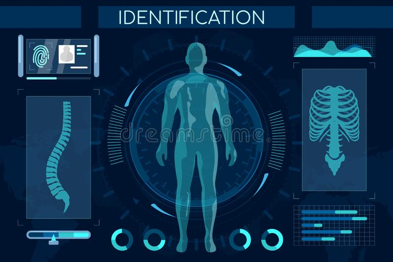 Futuristic identification process flat illustration. Smart recognition system, full body scan. Human digital model royalty free illustration