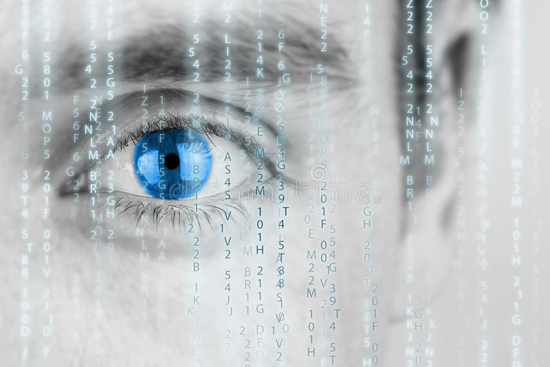 Futuristic image with matrix texture. Futuristic image with human eye with blue iris and matrix texture royalty free stock image