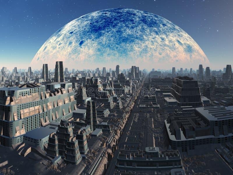 futuristic industriellt för främmande cityscape royaltyfri illustrationer